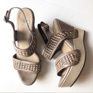 UGG Brown Leather Wedge Sandals 7